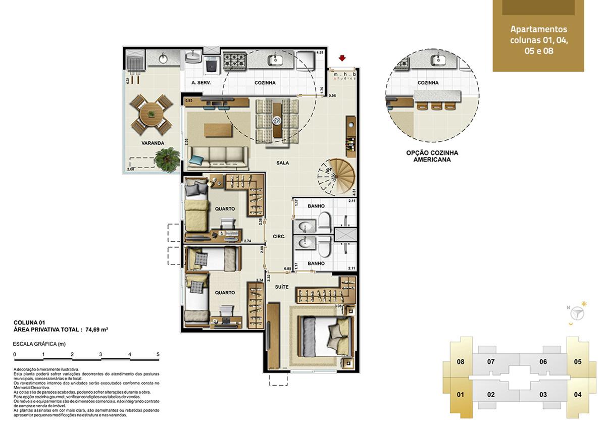 Apartamento colunas 1, 4, 5 e 8