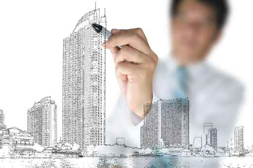 Architect or Business Man draw city